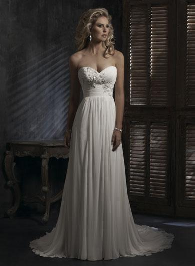 Sweetheart Neckline Empire Waist Lace Chiffon Wedding Dresses ...