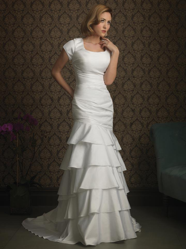 layers mermaid trumpet modest wedding dress with sleeves
