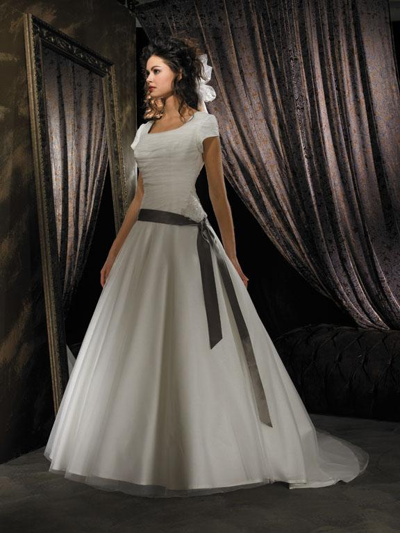 Sash Tulle Ball Gown Modest Wedding Dress With Sleeves