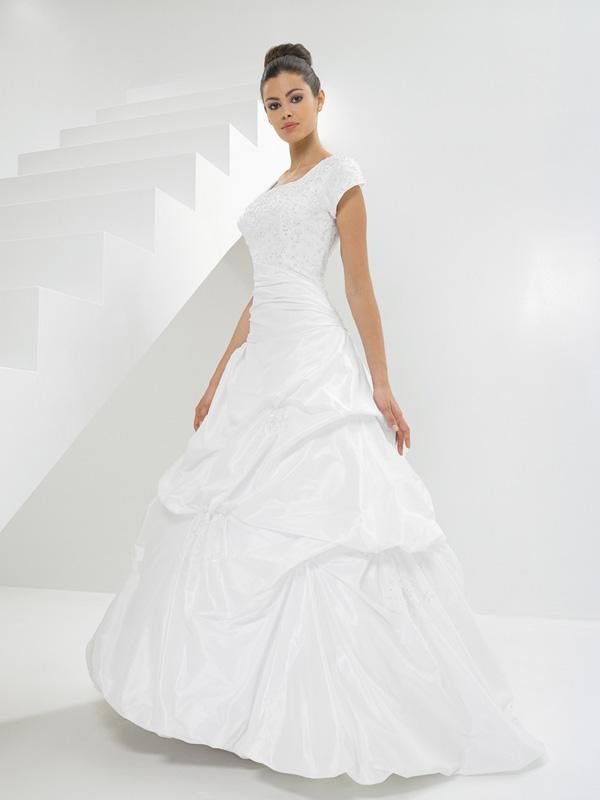 Modest Ruffle Wedding Dresses : Strapless embroideried ruffles modest wedding dresses with