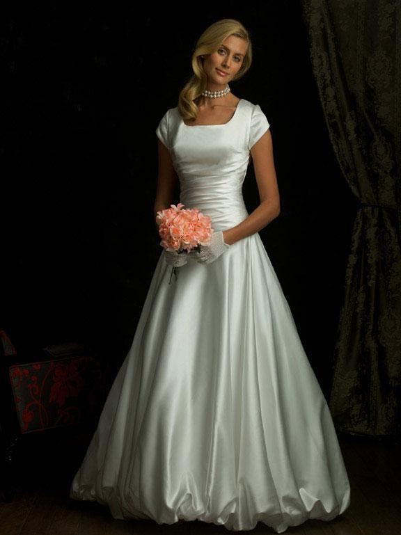 Simple Modest Ball Gown Wedding Dress With Sleeves
