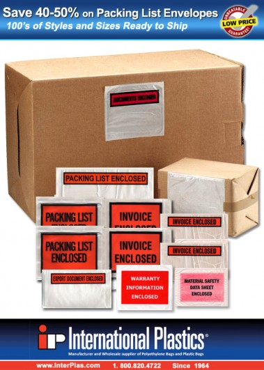 Packaging List Envelopes at Wholesale Prices