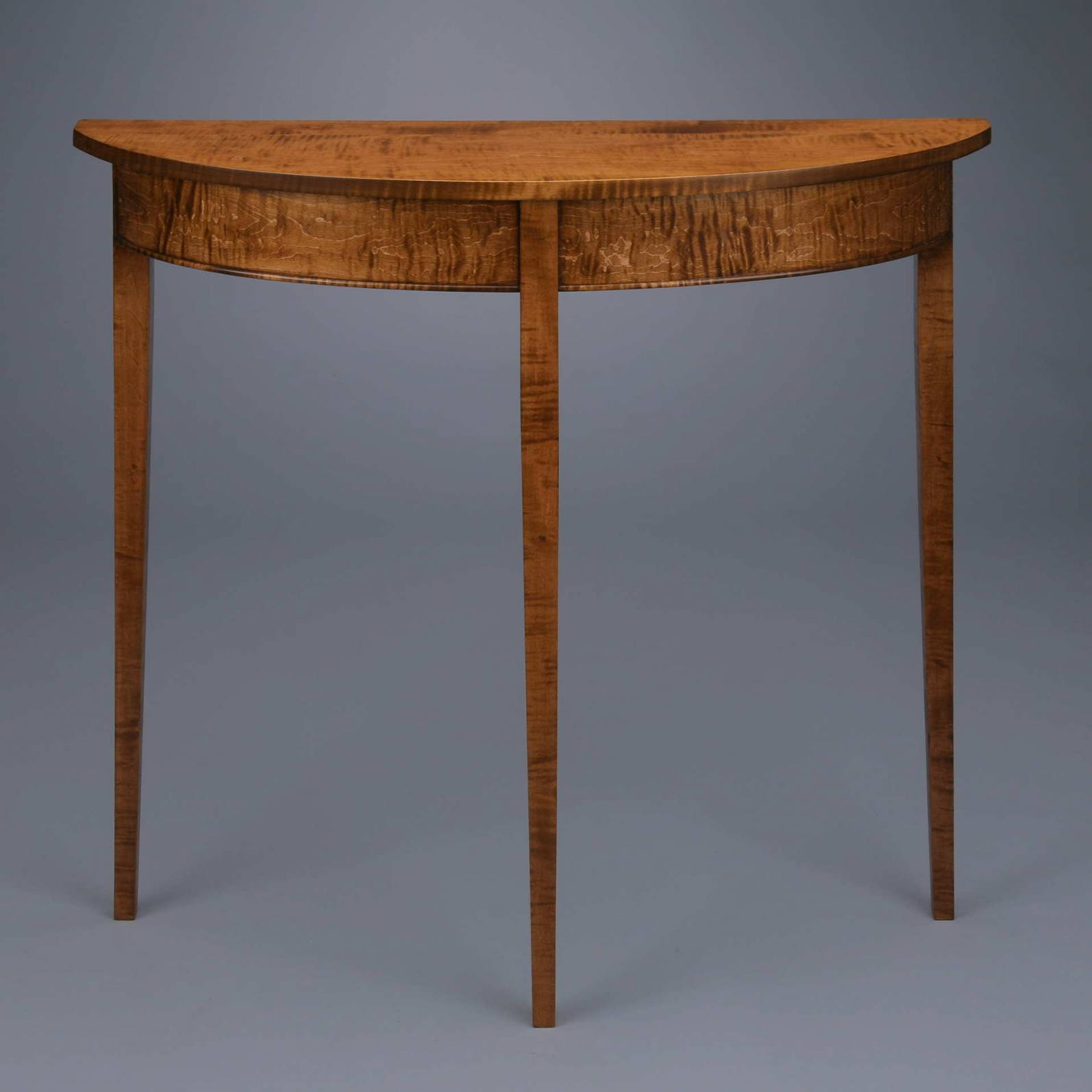 Demilune Table Curly Maple Dye Stained
