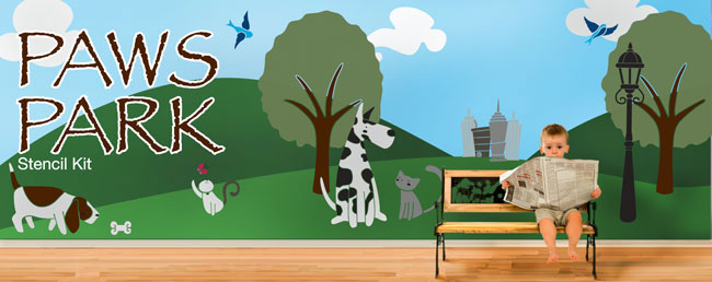 Cats Amp Dogs Theme Wall Mural Stencil Kit By My Wonderful