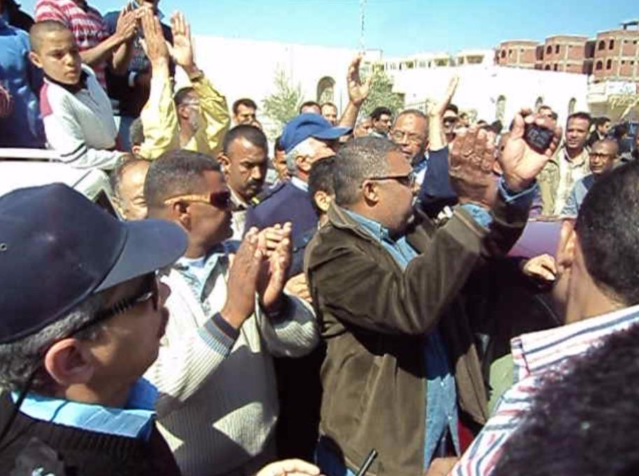 Protesters applaud their success in bid to end corruption in Hurghada, Red Sea, Egypt.