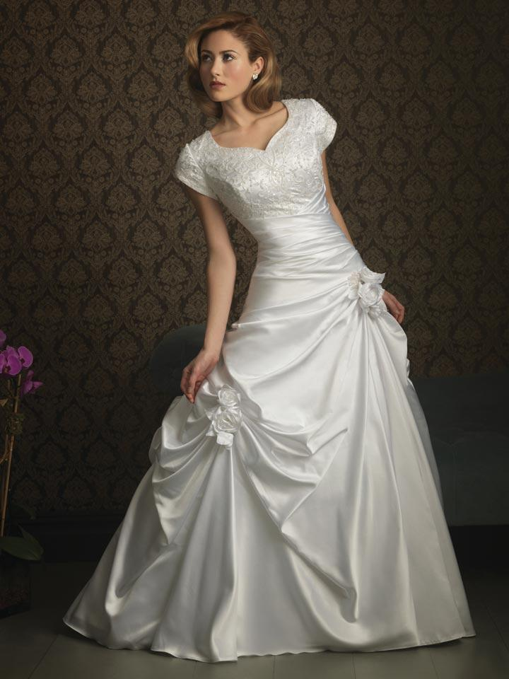 Ivory gorgeous ball gown modest wedding dress with sleeves for Mormon modest wedding dresses