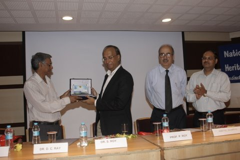 Professor Siddhartha Roy receiving memento
