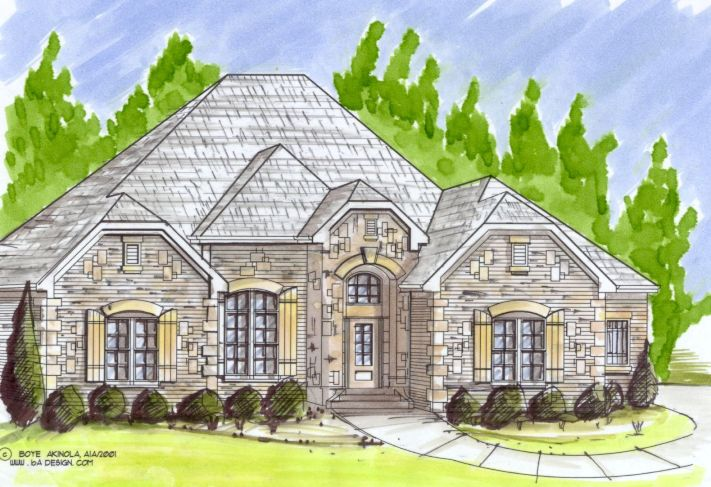 Spectacular french country ranch villa katie www for Custom home plans online