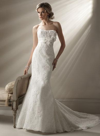 Romantic floral lace organza mermaid wedding dresses