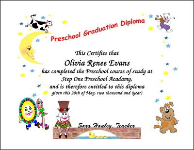 Graduation Certificates Preschool Kindergarten Graduation