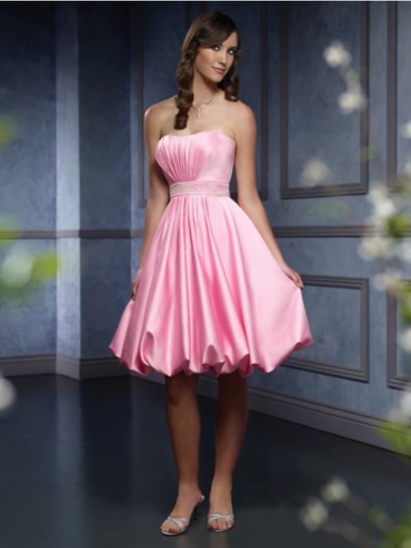 Ruffled Satin Knee Length Belt Pink Bridesmaid Dresses Zoombridal