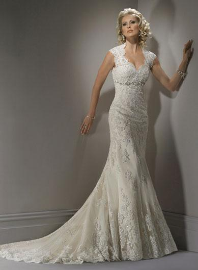 Queen anne fully beaded lace mermaid trumpet wedding gown for Queen anne neckline wedding dress