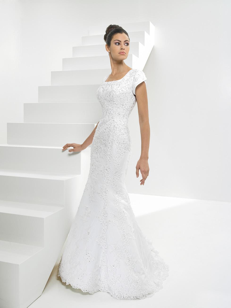 Scoop Beaded Net Mermaid/Trumpet Modest Wedding Dress With ...