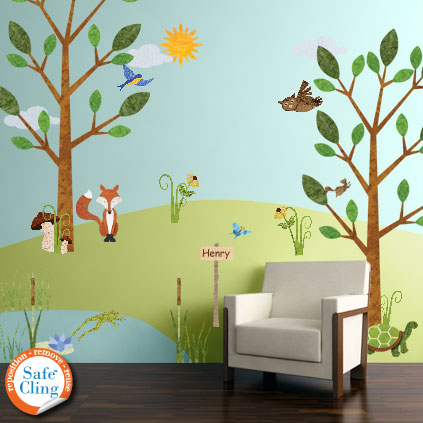 forest friends wall sticker kit now available through my forest deer tree wall sticker qo82 78 00 wall