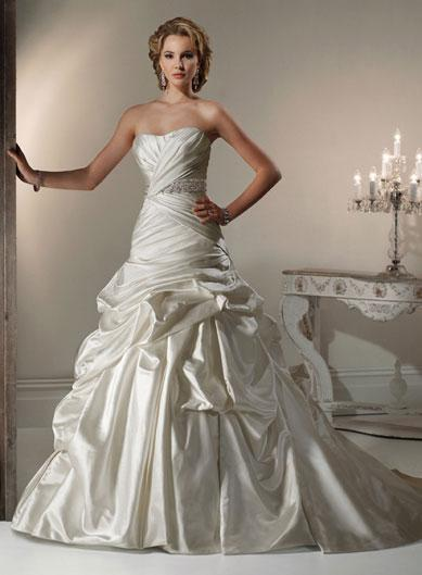 caught up beaded satin a line corset wedding dresses prlog