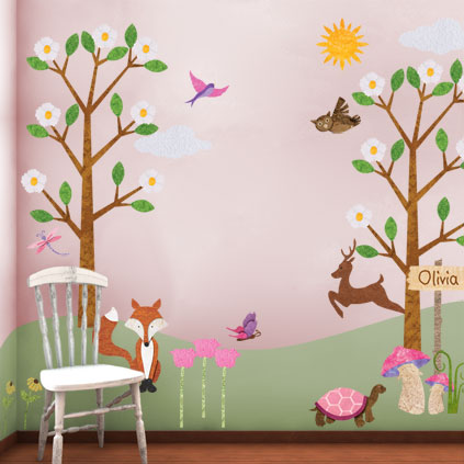 New girl version of the forest friends wall sticker kit for Girls murals