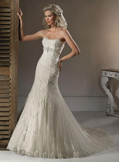A Line Lace Wedding Dress : A line beaded organza embellished lace corset wedding
