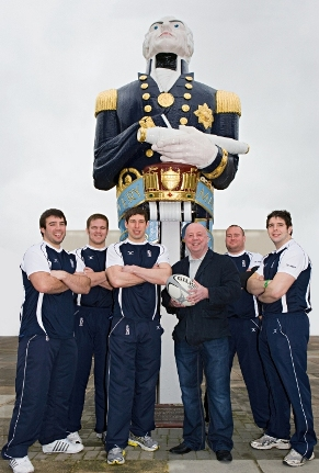 CNP's Kerry Kayes with some of the Royal Navy rugby team