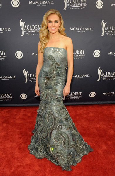 Laura Bell Bundy wears Jean Fares Couture