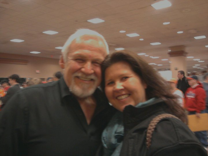Bernie Parent, with fan, Josephine Roach