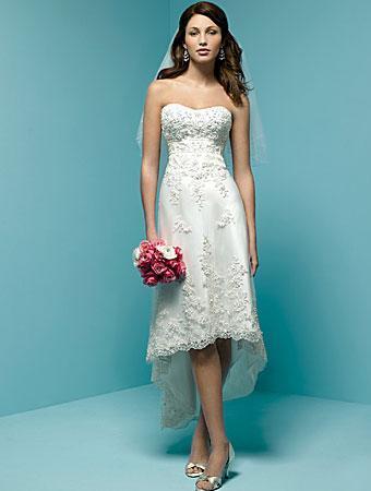 Short wedding dresses Strapless Satin Embroidery A-Line/Princes ...
