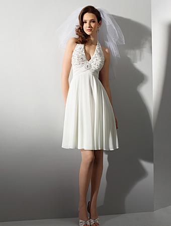 Short Elegant Halter Top Chiffon Beaded A Line Princes Wedding Dresses