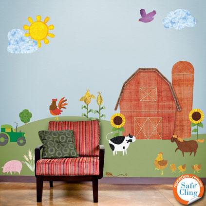 friendly farm jumbo wall sticker kit now available through