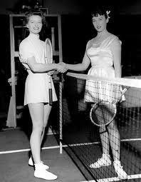 """Katharine Hepburn & Gussie Moran in """"Pat and Mike"""""""