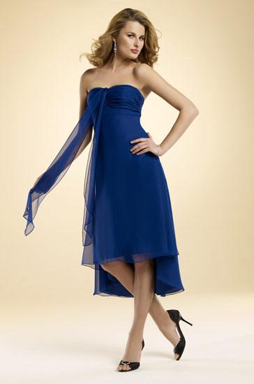 Midnight blue strapless tea length sash chiffon bridesmaid for Midnight blue wedding dress