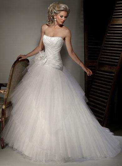 Scoop Neckline Floral Satin tulle Ball Gown Corset Wedding Dresses ...
