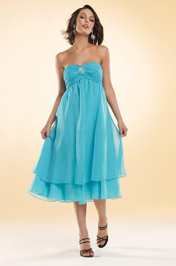 Blue strapless tea length beading chiffon a line bridesmaid dresses
