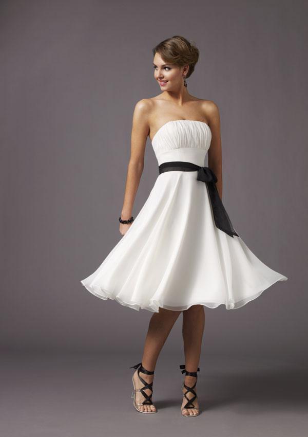 Strapless knee length black sash chiffon white bridesmaid for Wedding sashes for dresses