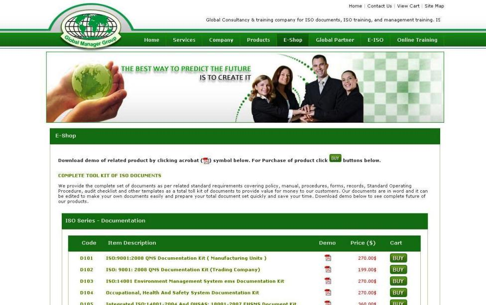 Global Manager Group E-shop for ISO Documents