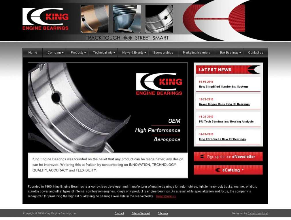 King Engine Bearings' Newly Redesigned Website