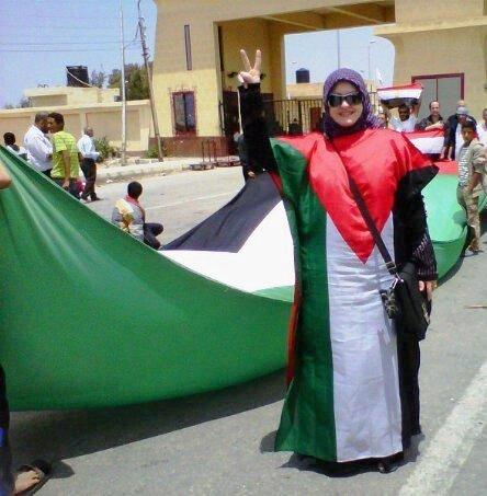 Aishah Schwartz at Rafah border, Egypt - May 15, 2011.