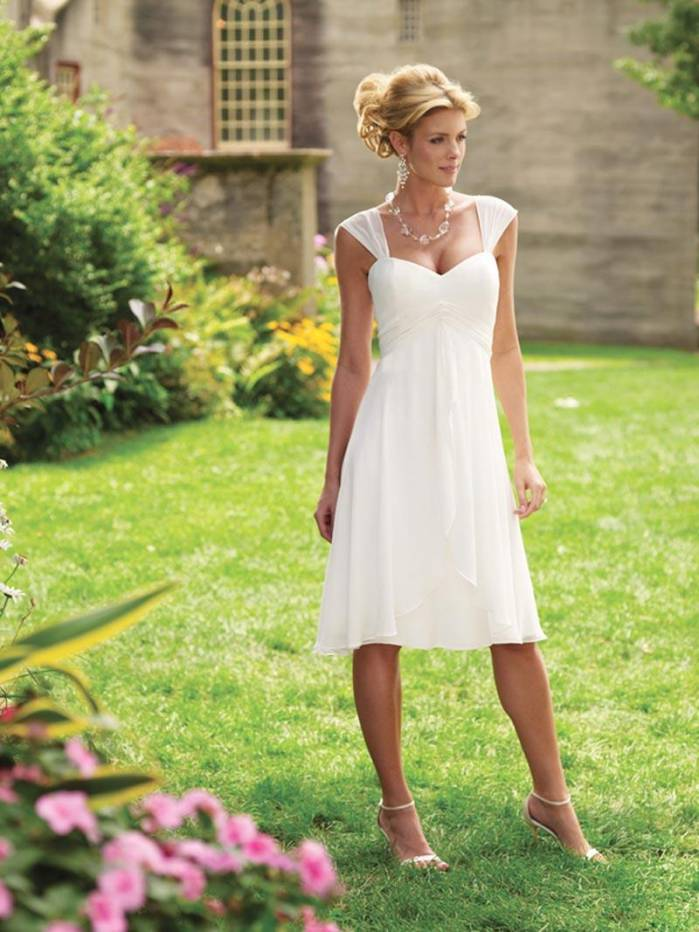Short cap sleeves tea length chiffon informal simple for Simple casual wedding dresses