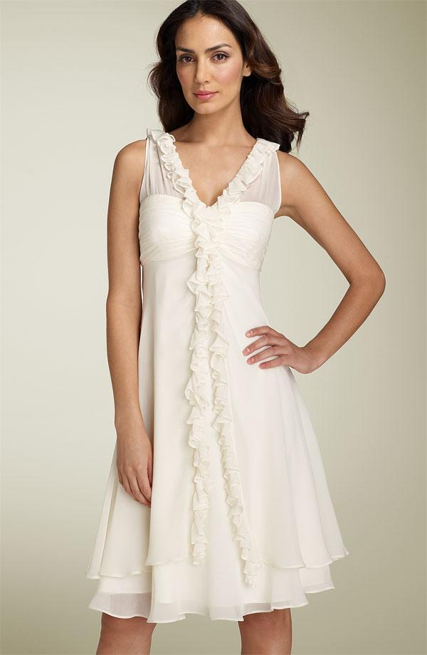 Short ivory v neck ruffled chiffon destination wedding for Short ivory wedding dress