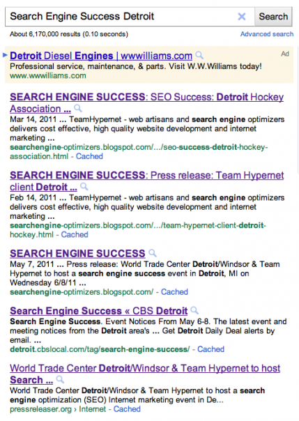 Google results Search Engine Success Detroit