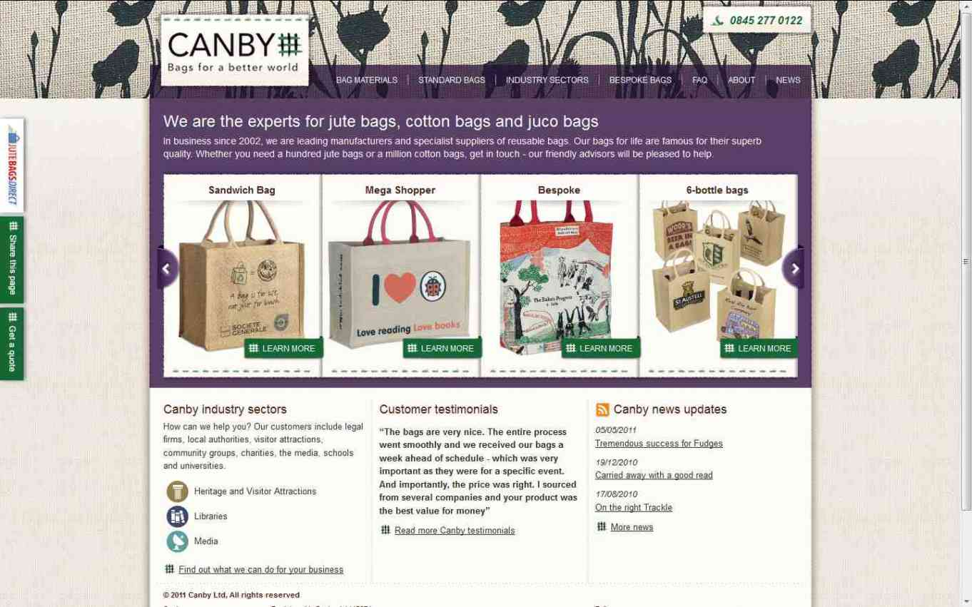 Canby Bags website homepage screenshot