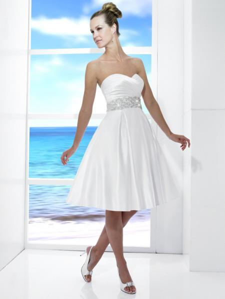 white short knee length beaded a line silhouette wedding dress prlog