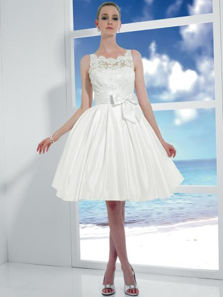 Noble Short Cocktail Length Ball Gown Destination Wedding Dress ...