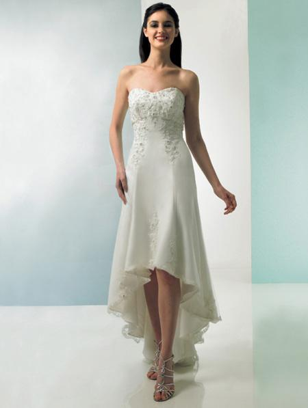 Ivory high low hem wedding dress teal length lace applique for Hi lo hemline wedding dresses