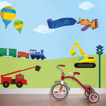 Personalized train theme wall sticker kit now available for Cars wall mural sticker