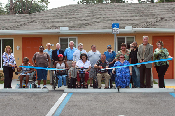 Palmetto Ranch residents prepare to cut the ribbon