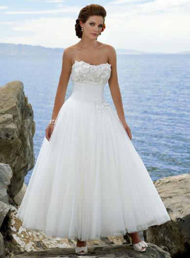 Morden floral ball gown tea length destination wedding for Dresses for destination wedding