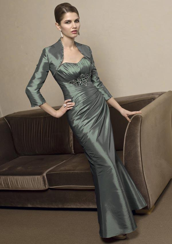Steel color mother of bride dress