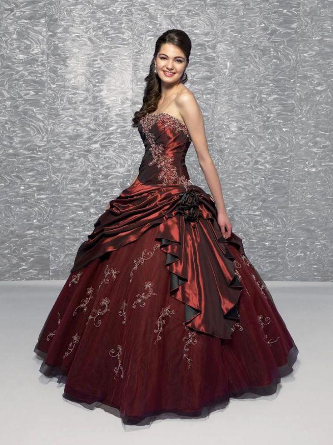 Burgundy Quinceañera Ball Gown Sweet Sixteen Dresses -- zoombridal ...