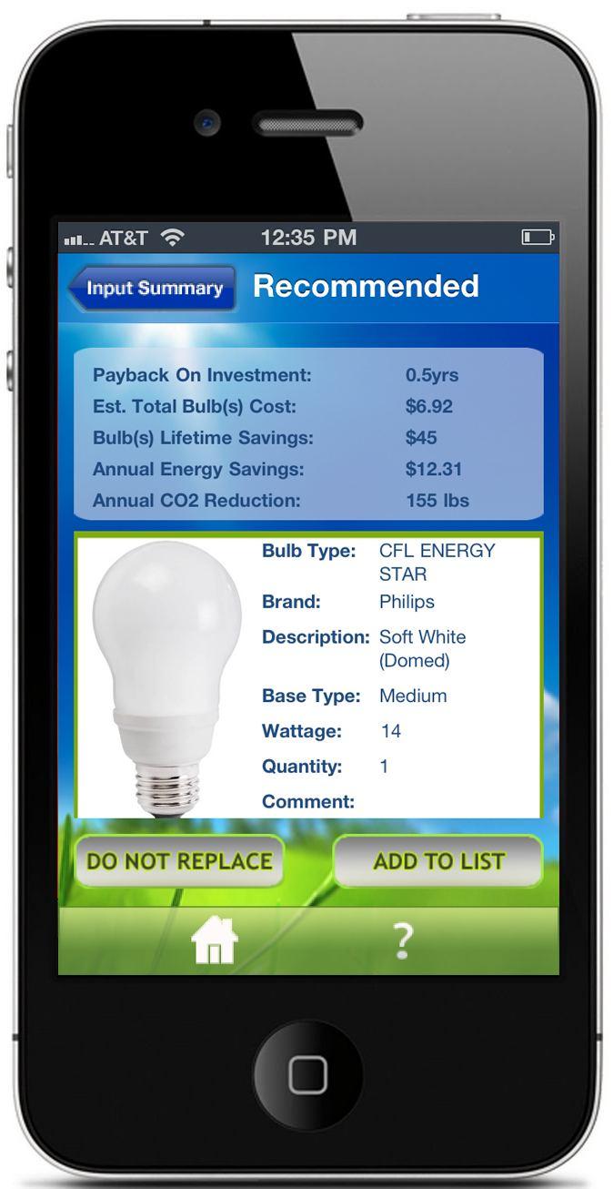 Light Bulb Finder App: Bulb Recommendation Screen
