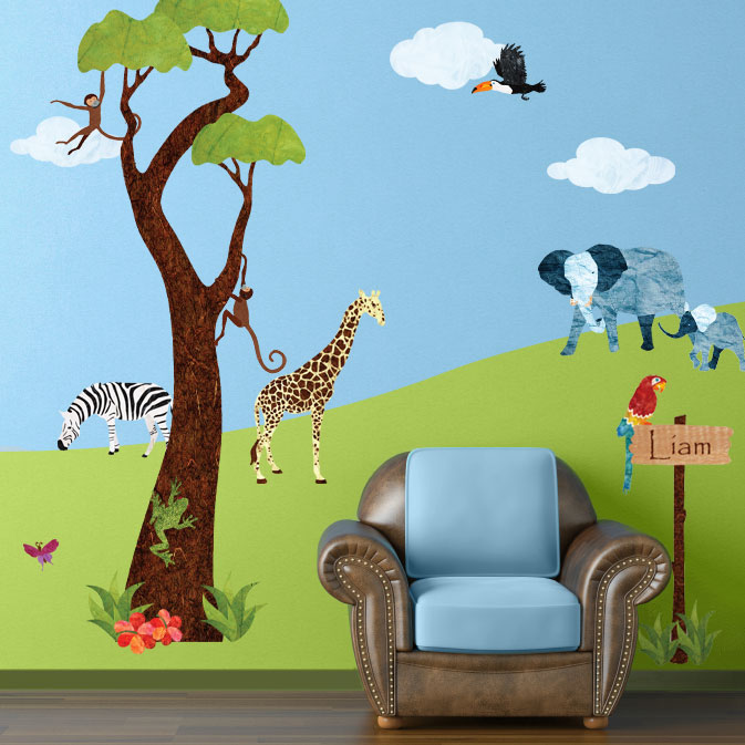 Personalized Jungle Safari Wall Sticker Kit
