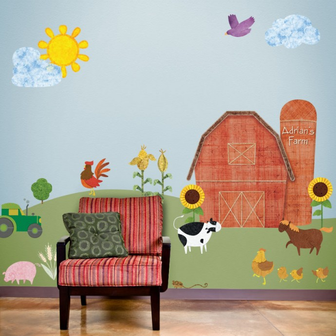 Now available new personalized barn for farm room wall for Boys room wall mural